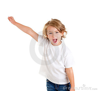 Free Kid Screaming With Happy Expression Hand Up Royalty Free Stock Photography - 23309757
