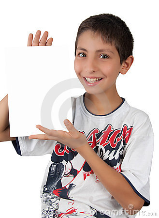 Kid showing white blank paper sign space