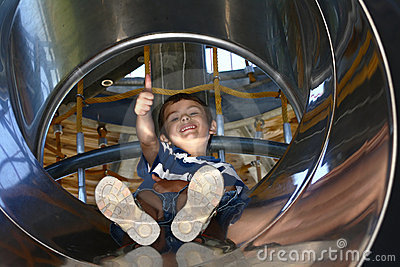 Kid in a slide