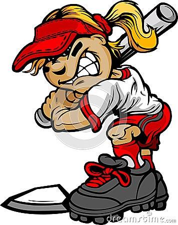 Free Kid Softball Batter Holding Bat Royalty Free Stock Photos - 24348418