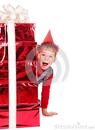 Kid with stack gift box.