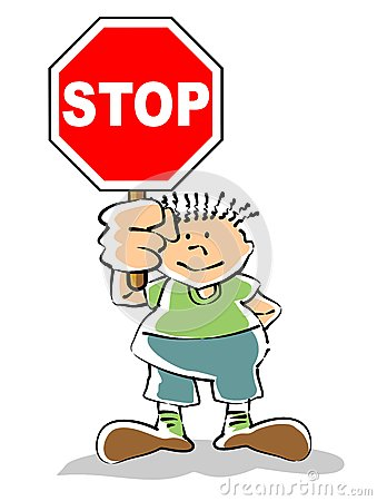 Kid with stop sign