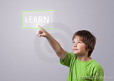 Kid Touching LEARN Button Royalty Free Stock Images - Image: 20735819