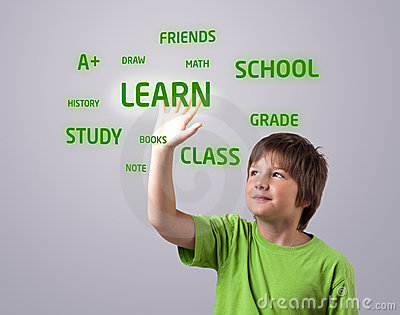 Kid touching LEARN button