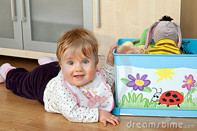 Kid with toy box