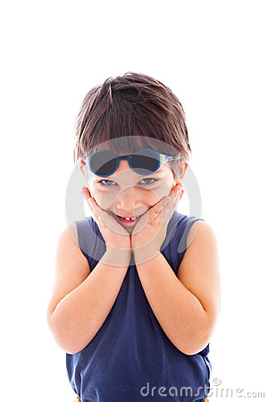 Kid wearing sunglasses