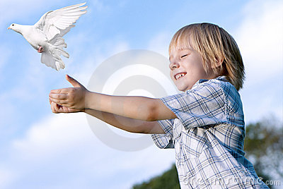The kid and white pigeon