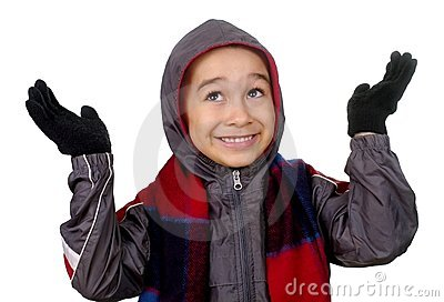 Kid in winter clothes, hands up