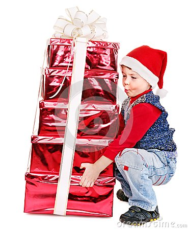 Free Kid With Christmas Gift Box. Royalty Free Stock Photo - 27849655