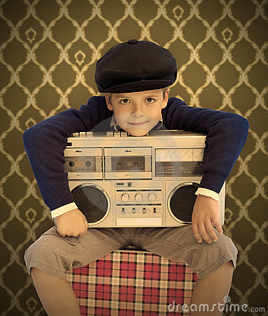 Free Kid With His Cassette Player Royalty Free Stock Image - 21075526
