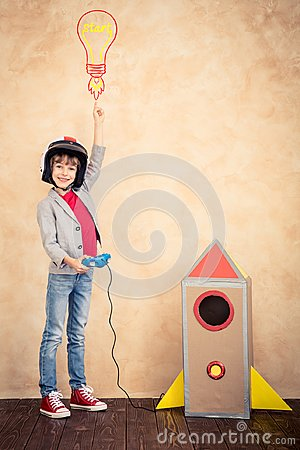 Free Kid With Jet Pack At Home Stock Image - 101485631