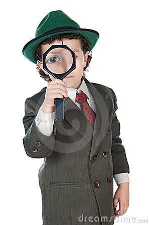 Free Kid With Magnifying Glass Stock Photos - 3503323