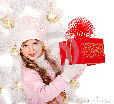 Free Kid With Red Christmas Gift Box. Stock Photo - 27569040