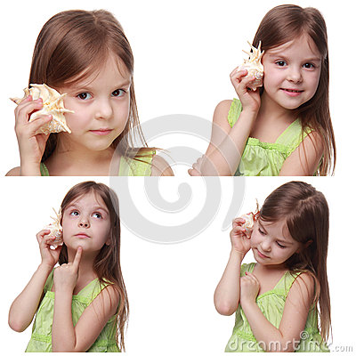 Free Kid With Sea Shell Royalty Free Stock Image - 44216996