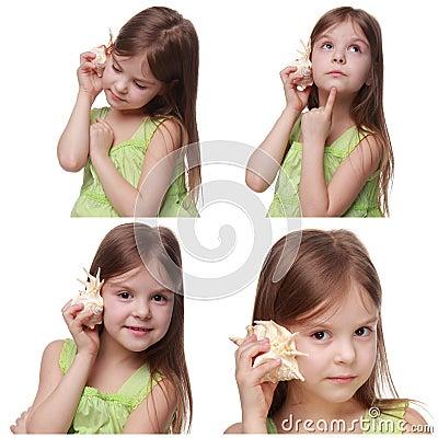 Free Kid With Sea Shell Royalty Free Stock Photos - 44216998