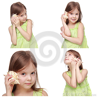 Free Kid With Sea Shell Royalty Free Stock Images - 44217009