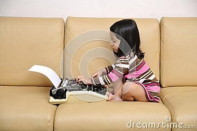 Kid Write With Typewriter