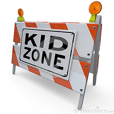 Kid Zone Barricade Sign for Park Playground or School