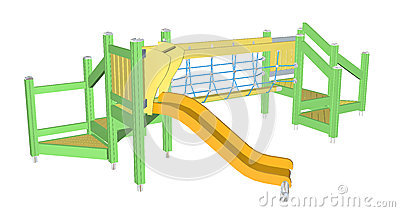 Kiddie Slide and Crawling Net, 3D illustration