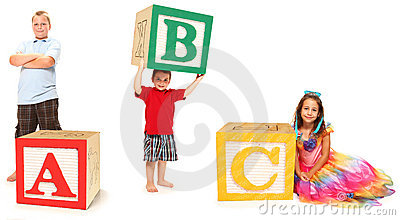 Kids with ABC in Alphabet Blocks