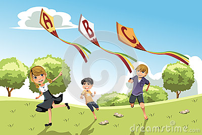 Kids with alphabet kites