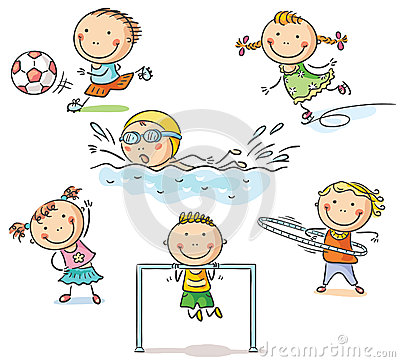Free Kids And Their Sports Activities Stock Image - 44632161