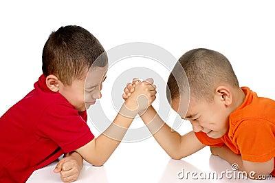 Kids arm wrestling