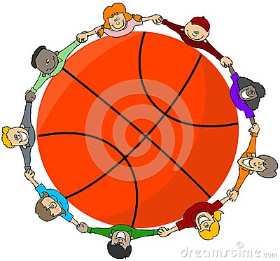 Kids around a basketball