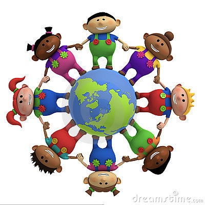 Free Kids Around Globe Holding Hands Royalty Free Stock Images - 15667159