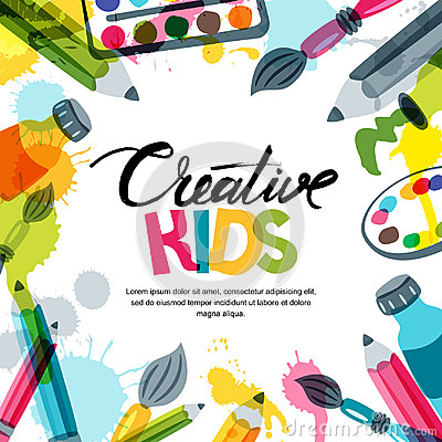 Kids art, education, creativity class concept. Vector banner, poster background with calligraphy, pencil, brush, paints. Vector Illustration