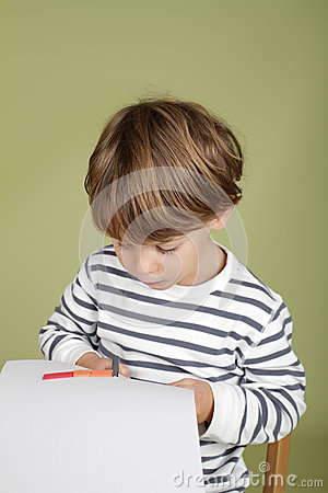 Free Kids Arts And Crafts Activity Child Learning To Cut With Scissor Royalty Free Stock Photo - 46852975
