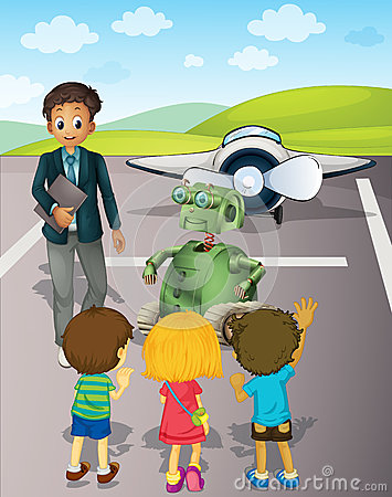 Free Kids At The Airport Stock Image - 25426691