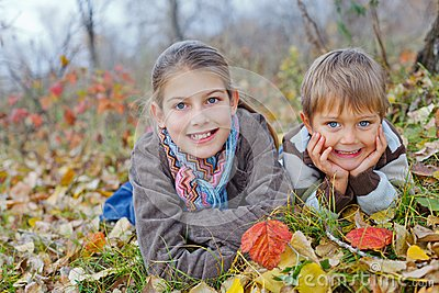 Kids in autumn park