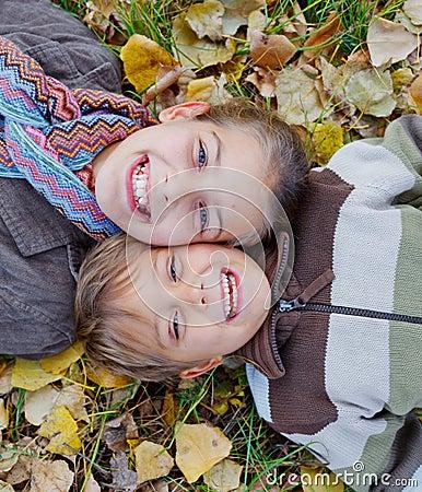 Kids in autumn park