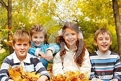 Kids in autumnal park