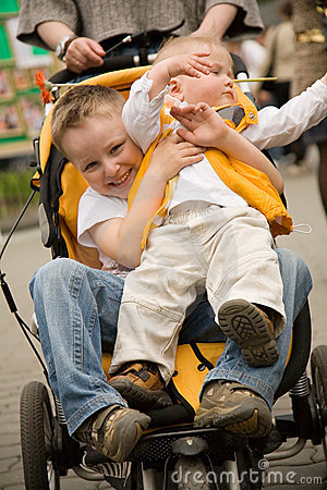 Kids in a baby carriage