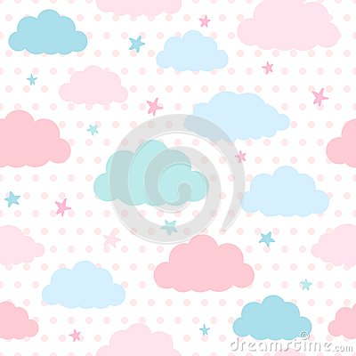 kids background with clouds and stars stock vector image
