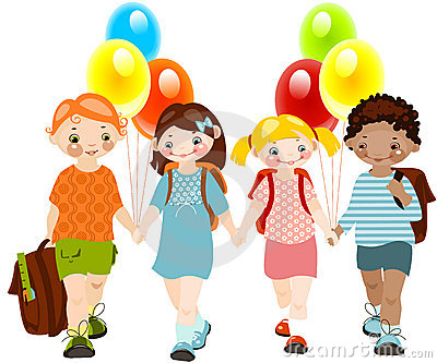 kids with balloons. school childhood.