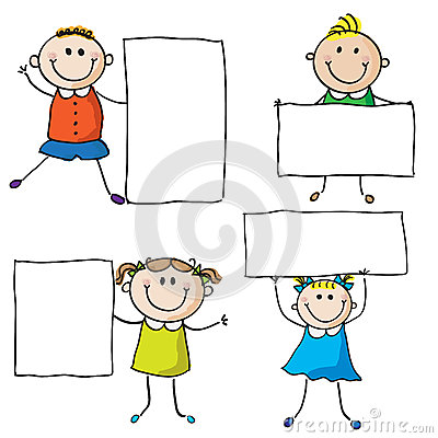 Kids with banners Vector Illustration