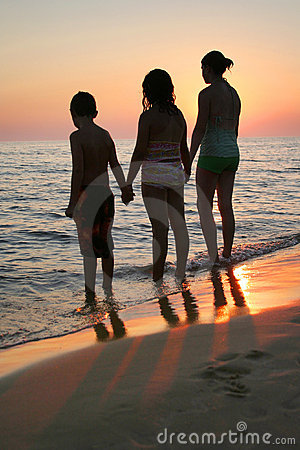 Kids Beach Sunset Vertical