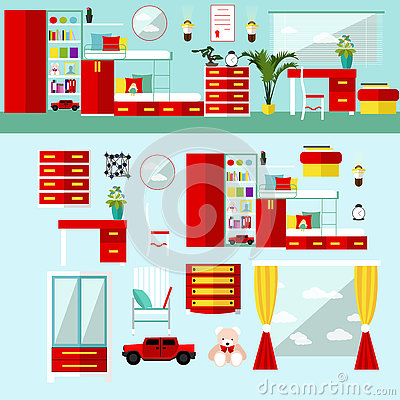 Kids Bedroom Interior In Flat Style Vector Illustration Stock Vector Image 74660780