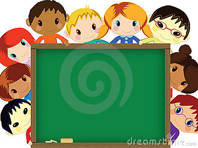 Kids behind chalkboard