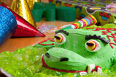 Kids birthday cake and decorations