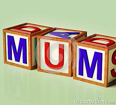 Kids Blocks Spelling Mum As Symbol for Motherhood