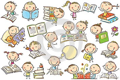 Kids and Books Vector Illustration
