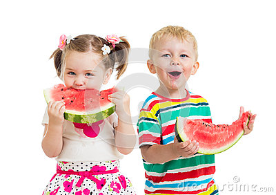 Kids boy and girl eat watermelon isolated