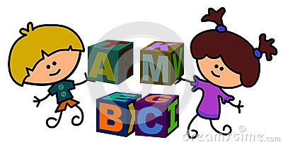 Kids build blocks