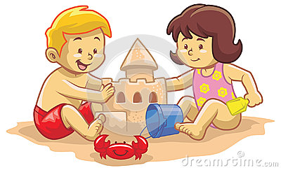 Kids build sand castle