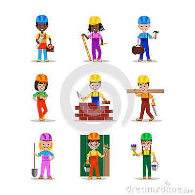 Kids builders characters vector illustration Vector Illustration