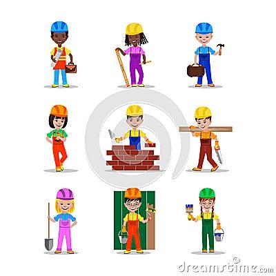 Kids builders characters vector illustration Vector Illustration
